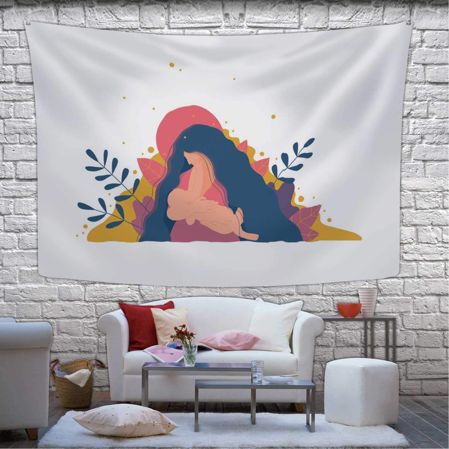 Realize Stylish Mother Breastfeeding Her Newborn Baby Tapestry Wall Hanging,080792 Wall Art for Living Room Dorm Decor,78.7''W X 59.1''H 80x60(in)