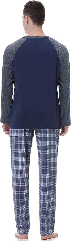 Hawiton Mens Pajamas Set,Soft Classic Cotton Plaid Nightwear Sleepwear Loungewear Long Sleeve Top PJs Set