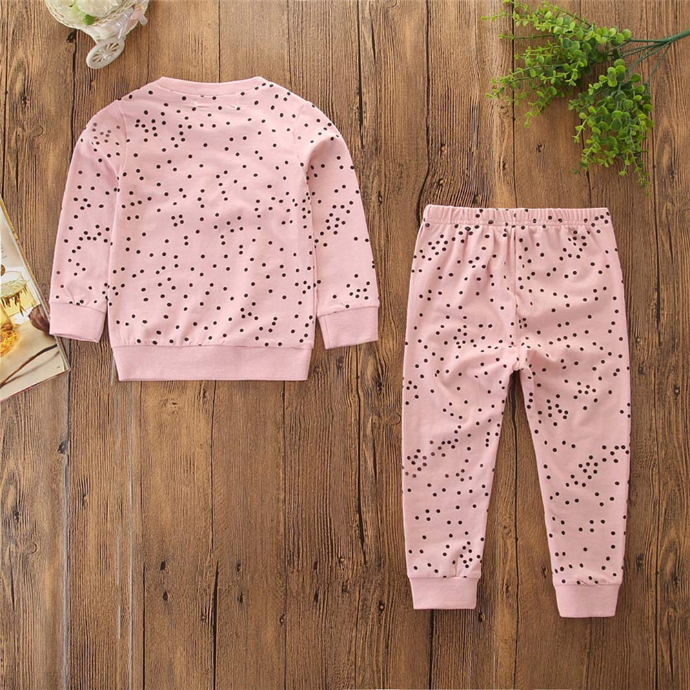 HBER 1-6T Toddler Baby Little Girls Spring Fall Winter Outfits Long Sleeve T-Shirt Tops Pants Cotton Pink Clothing Set