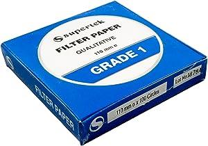 Supertek Filter Paper, Qualitative, Grade 1, 110 mm (Diameter) Pack of 100 Sheets