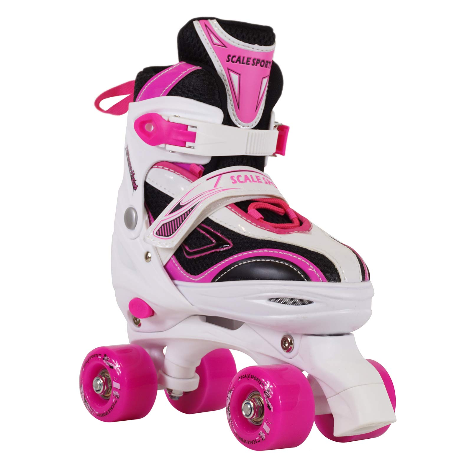 Scale Sports Adjustable Roller Skates for Kids Teen and Ladies Large Size Pink