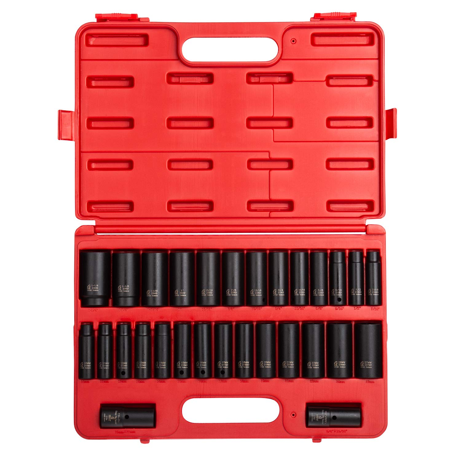 Sunex 5153DD, 1/2 Inch Drive Master Impact Socket Set, Double Deep, 29-Piece, SAE/Metric, 7/16'' - 1-1/4'', 10mm-27mm, Cr-Mo Steel, Radius Corner Design, Dual Size Markings, Heavy Duty Storage Case by Sunex Tools