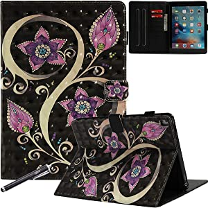 iPad Pro 9.7 Inch Case, Newshine Stand Folio Smart Cover with Auto Wake/Sleep Card Slots for Apple iPad Pro 9.7 (2016 Release, Model: A1673 A1674 A1675) - Pink Purple Flower
