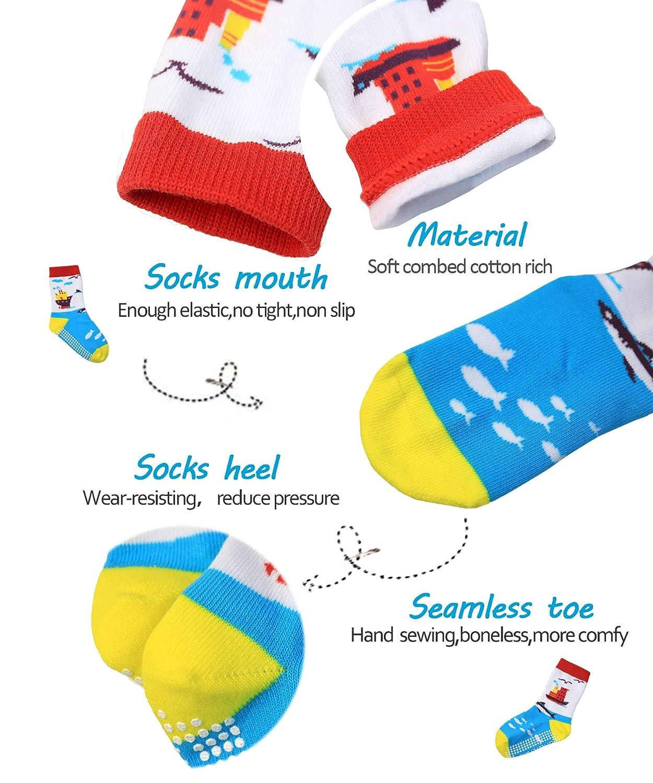 Kids Fashion Novelty Cars Animals Anti Slip Grips Combed Cotton Crew Socks-Seamless Toe