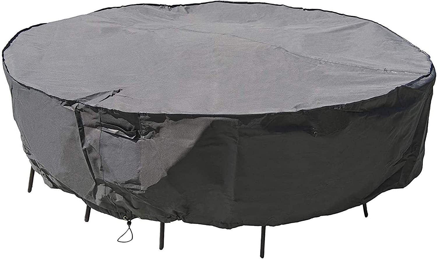 """MH M&H Patio Furniture Covers for Round Table and Chairs, Outdoor Furniture Covers Waterproof with Handles and Durable Hem Cord, Fit Large Round Furniture Set, 600D UV Resistant Fabric, 108"""" Dia Taupe"""