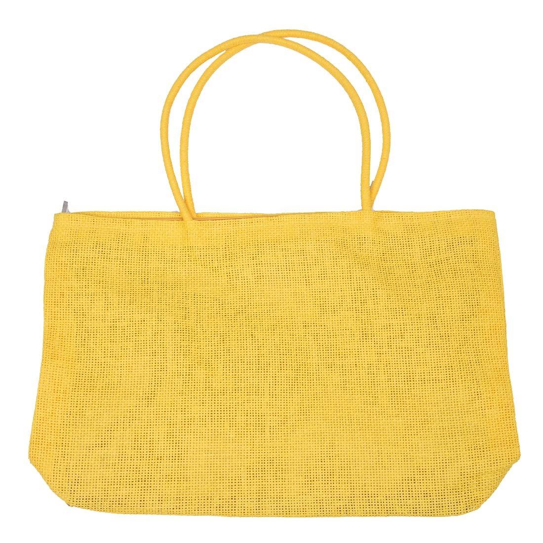 SODIAL (R) delle signore di modo tessuto tessuto di paglia di estate Tote Shoulder Bag Beach Shopping Borsa - Giallo SODIAL(R) 015345A1