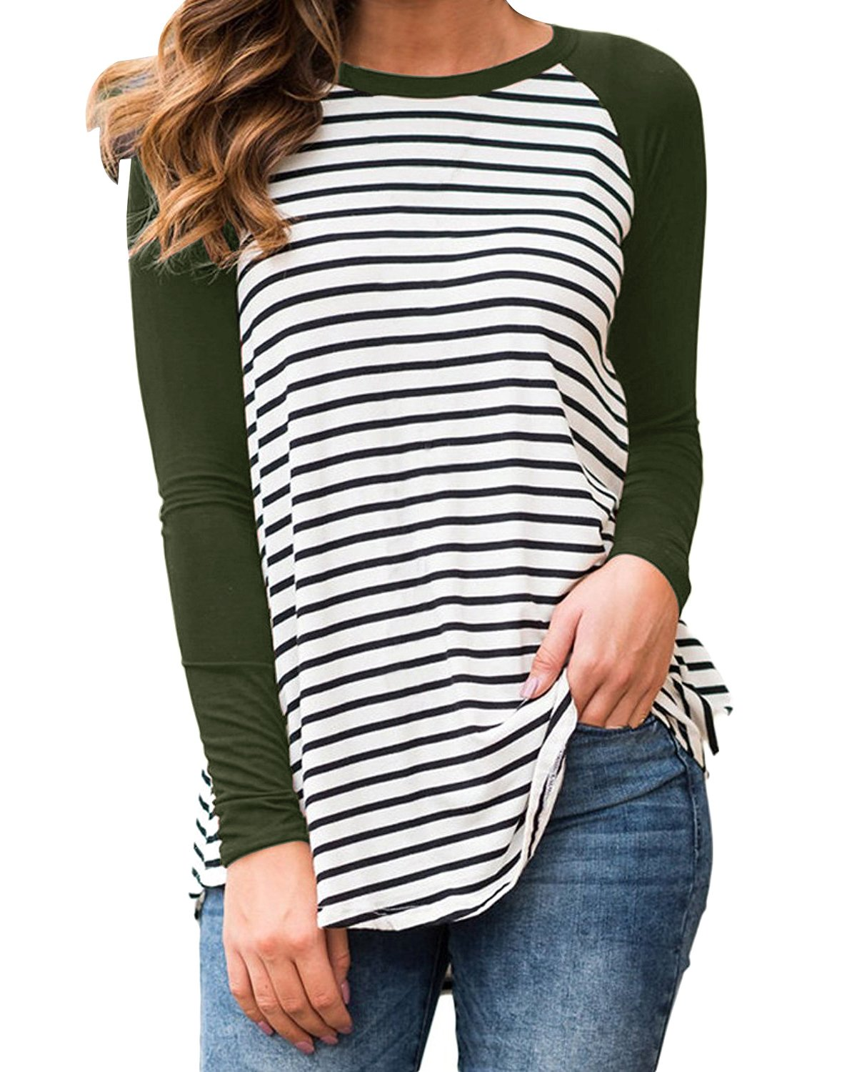 Cnfio Womens Blouses Striped Shirts Long Sleeve Round Neck Patchwork Casual Tops Army Green XL