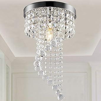 LED Runde Silbern Kristalllampe Gang Deckenleuchte Modern Edelstahl ...