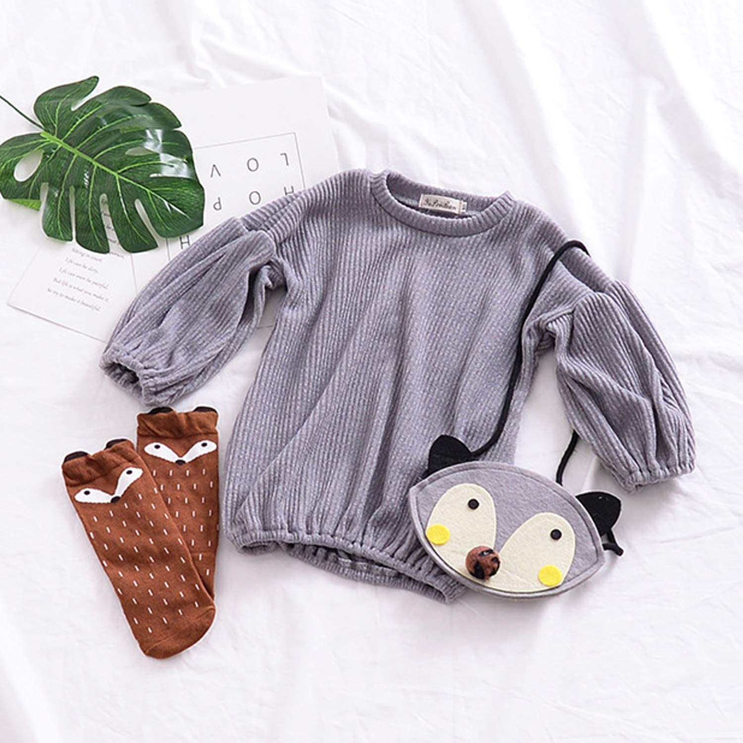 GRNSHTS Baby Girls Loose Long Sleeve Knit Sweater