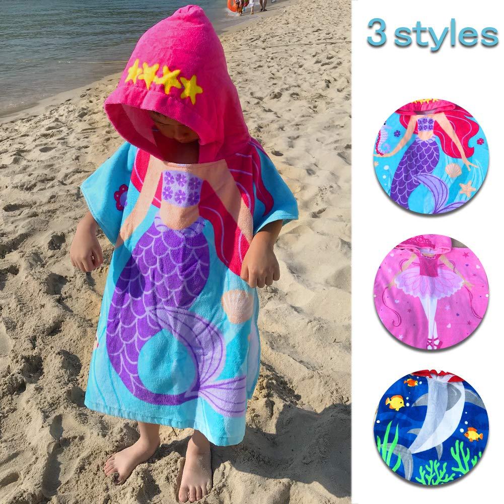 Kids Girls Boys Beach Towels Hooded 2-8 Years 100% Cotton Children Bathrobe Wearable Absorbent Wearable Cute Cartoon Breathable Soft Multi-use Swim Pool Home Outdoor (Mermaid, 60cm (23.6in)2-6 Years)