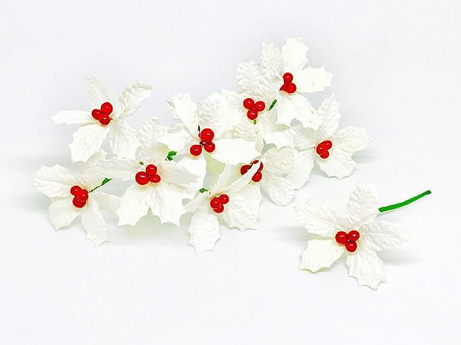 Amazon 25 white poinsettia paper flowers artificial 25quot white poinsettia paper flowers artificial poinsettias flowers paper poinsettia christmas flowers fake poinsettia flowers mightylinksfo