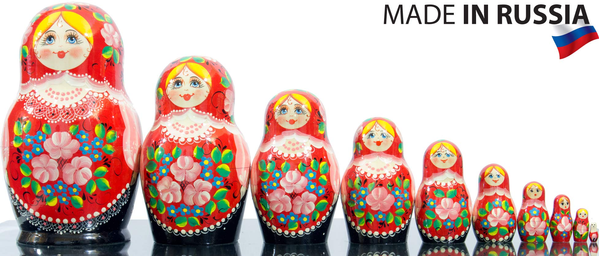 Russian Nesting Doll - Kirov - VJATKA - Hand Painted in Russia - Big Size - Wooden Decoration Gift Doll - Matryoshka Babushka (Style B, 8.25``(10 Dolls in 1)) by craftsfromrussia (Image #5)