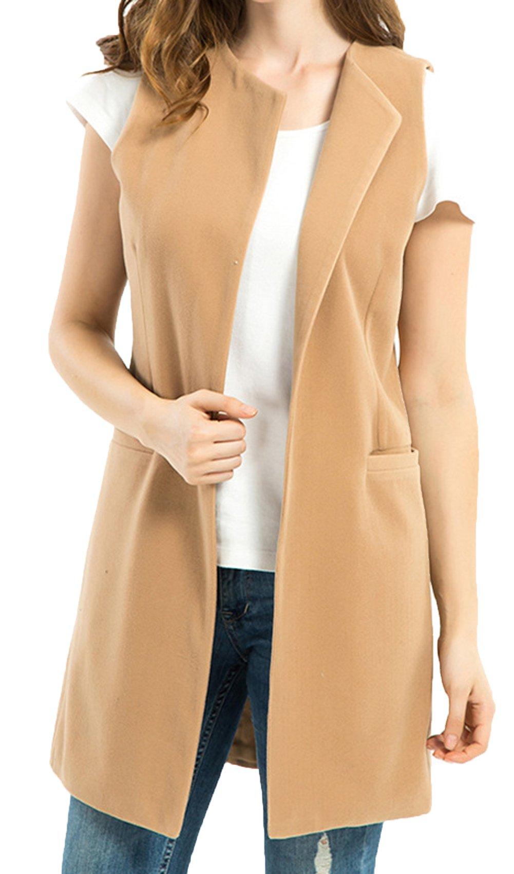 JOKHOO Women's Wool Blend Sleeveless Long Vest Jacket Longline Slim Waistcoat,Camel,Large