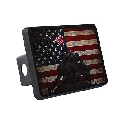 Rogue River Tactical USA Flag Iwo Jima Trailer Hitch Cover Plug US Patriotic Veteran WW2 Memorial: Automotive