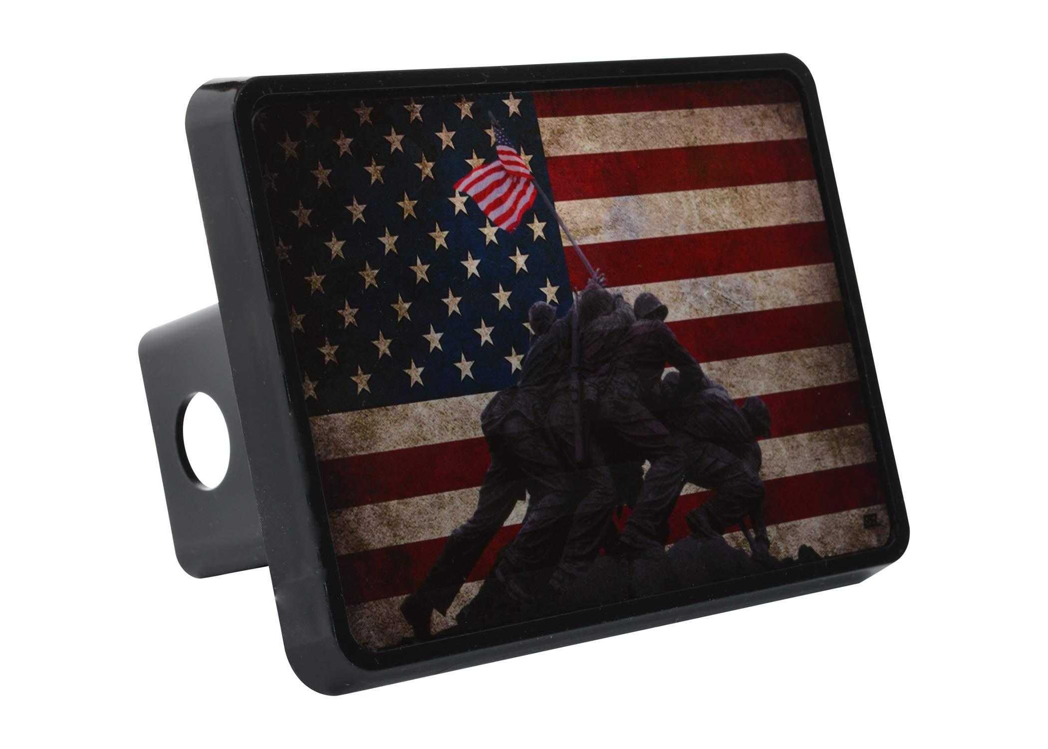 Rogue River Tactical USA Flag Iwo Jima Trailer Hitch Cover Plug US Patriotic Veteran WW2 Memorial by Rogue River Tactical