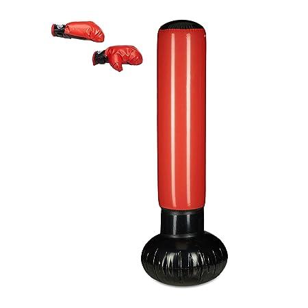 Relaxdays Standboxsack Anti-Frust, freistehender Boxsack zum Aufblasen, Boxstand für Kinder, 160 cm hoch, schwarz/rot
