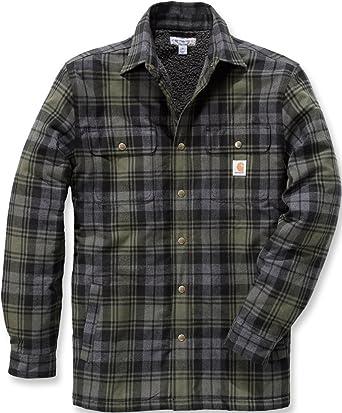 Carhartt .102333.316.S007 Camisa de rayas Hubbard para hombre, color:verde musgo. Talla:XL: Amazon.es: Amazon.es
