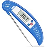 AMIR Digital Meat Thermometer, Instant Read Cooking Thermometer, Electronic Food Thermometer With Probe for Kitchen, BBQ, Poultry, Grill Food & Candy - Fordable, Fast & Auto On/Off (Blue)