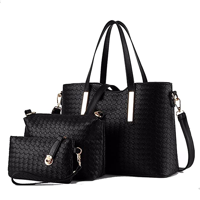3PCS/SET Women PU Leather Satchel Handbag Shoulder Messenger Crossbody Bag Wallet (Black): Handbags: Amazon.com