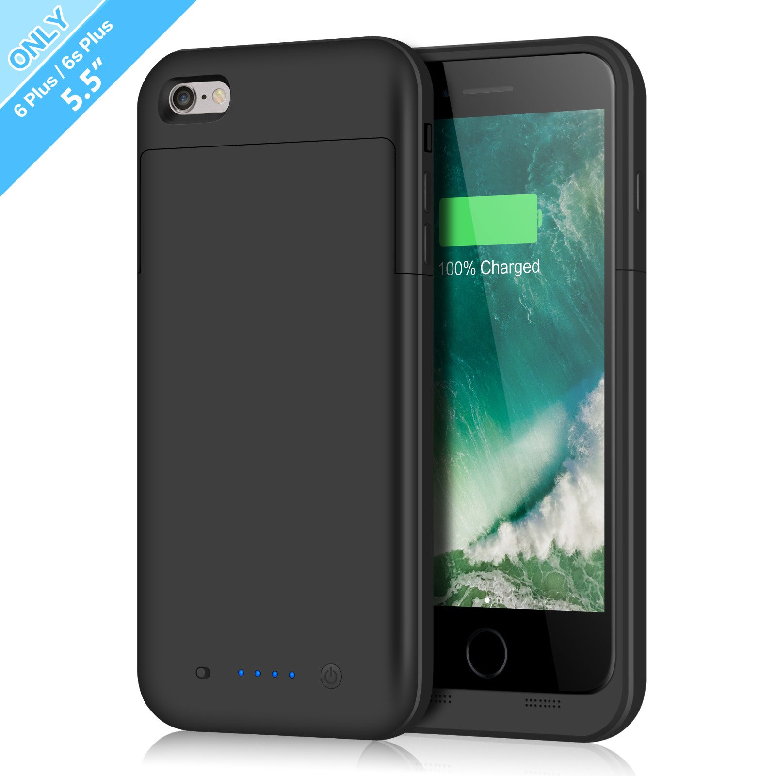iPhone 6 Plus/6s Plus Battery Case,6800mAh Battery Pack Charger Case for 6 Plus Extended Portable Battery Charging Case for iPhone 6 Plus,6s Plus-Black