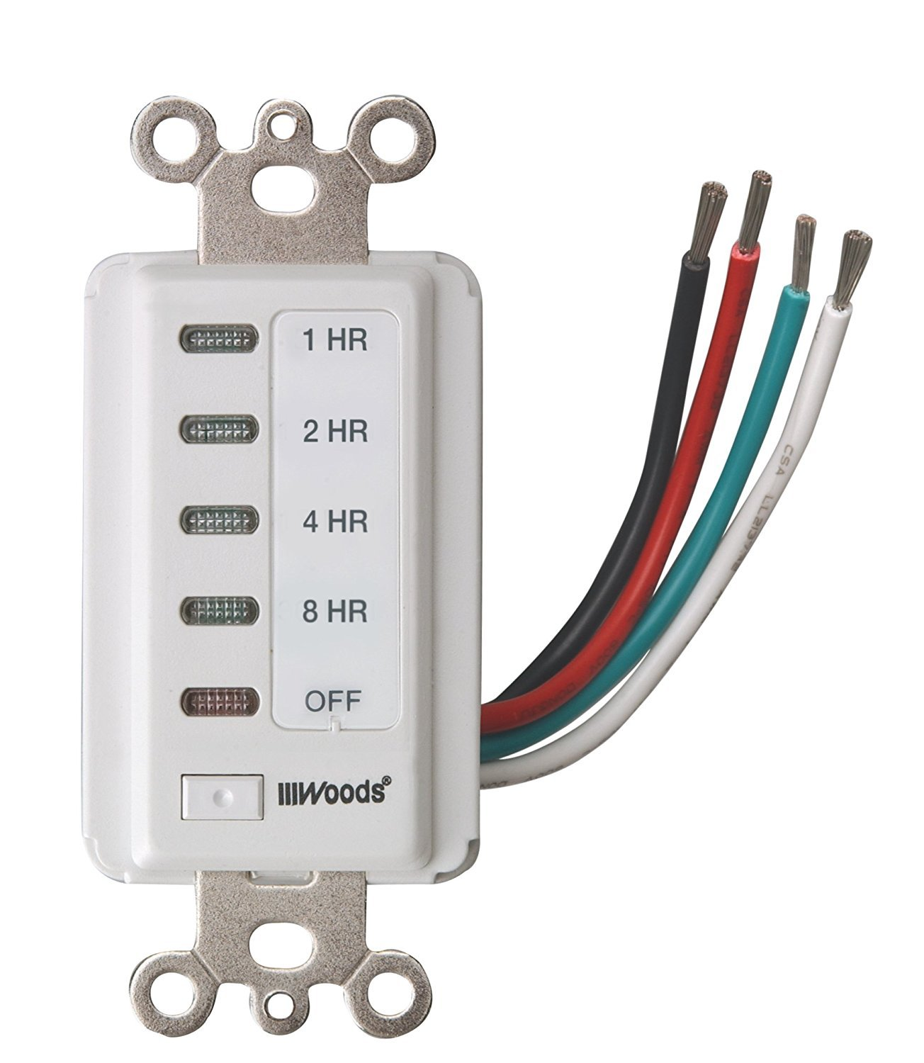 Woods 59013 In- In-Wall Timer, 120 V, 15 A, 2, 4, 8, 12 Hr Off Off, on