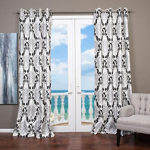 Lambrequin Arabella Flocked Curtain Panel Taupe 54 x 96 96 Inche
