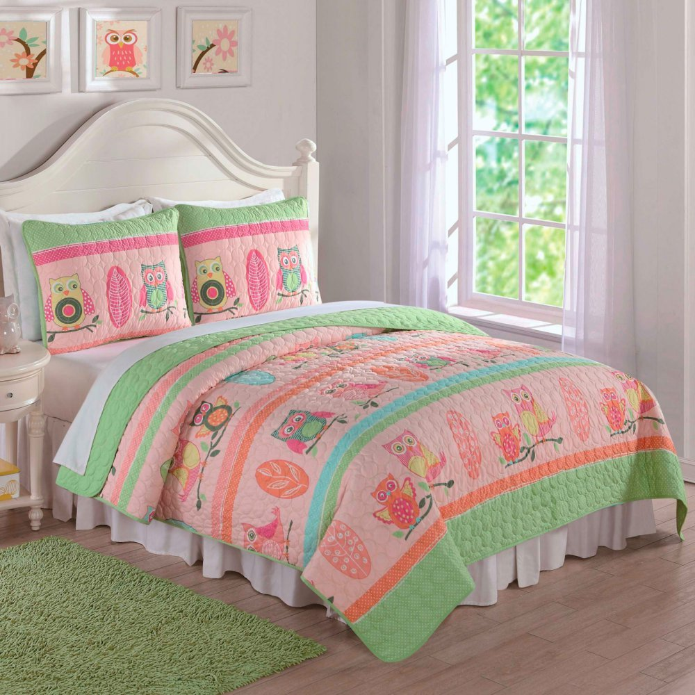 Laura Hart Kids Owl Stripe 3-piece Quilt Set 2 Piece Twin