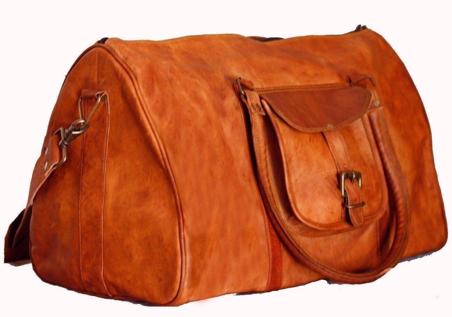 Sankalp Leather New Vintage Travel Duffel Shoulder Weekend Bag, NEW