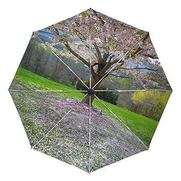 35be25e1a547 Amazon.com: Pink Beautiful Petals Travel Umbrella Windproof,Anti UV ...