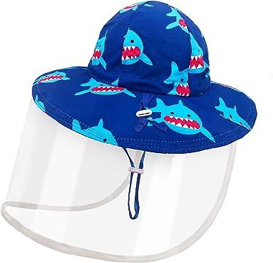 Dream Bridge Kids Protective Hat with Detachable Clear Safety Face Shield Mask Prevent Saliva Anti UV Sun Anti Dust Cap Isolation Mask Kids Boys Girls Fisherman Cap Hat