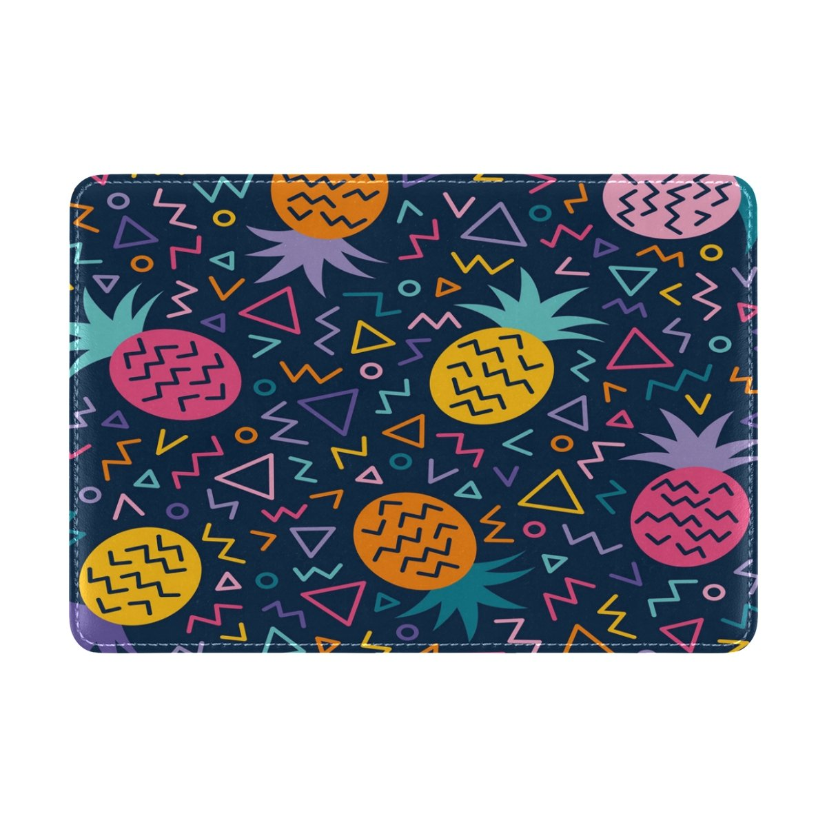 ALAZA Pineapple Geometric Line Leather Passport Holder Cover Case Travel One Pocket