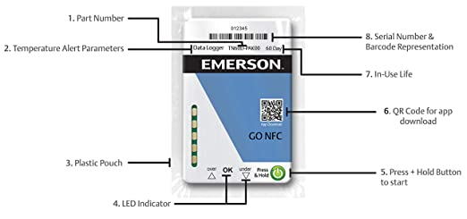 Emerson GO NFC Time and Temperature Data Logger, Disposable Cold Chain  Cargo Recorder for Android Mobile Devices, 10 Pack