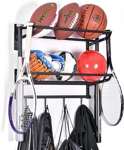Black Garage Metal Ball Storage Rack 4-Layer Double-Sided Basketball Storage Sports Equipment Organizer for Indoor Outdoor YINSU Ball Storage Sports Storage Ball Organizer