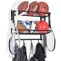 Sports Equipment Storage Rack for Baseball/Basketball/Football/Badminton/Golf/Yoga/Exercise Balls - Four Badminton…