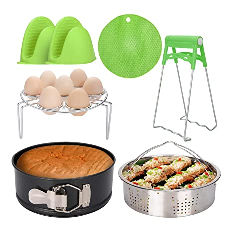 Steaming Rack Steamer Basket Pars/&Pars Pressure Cooker Accessories Set 6 Pieces Non-stick Springform Pan Egg Steamer Rack Silicone Cooking Mitts Compatible with Instant Pot 5 qt,6 qt and 8 quart