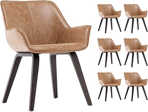 YEEFY Yellow PU Leather Living Room Chairs Modern Upholstered Accent Chairs Dining Room Chair