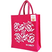 INDOZY Flowers Jute Hand Bag with Zip, Bottle Holder, Spoon Pocket (Pink)