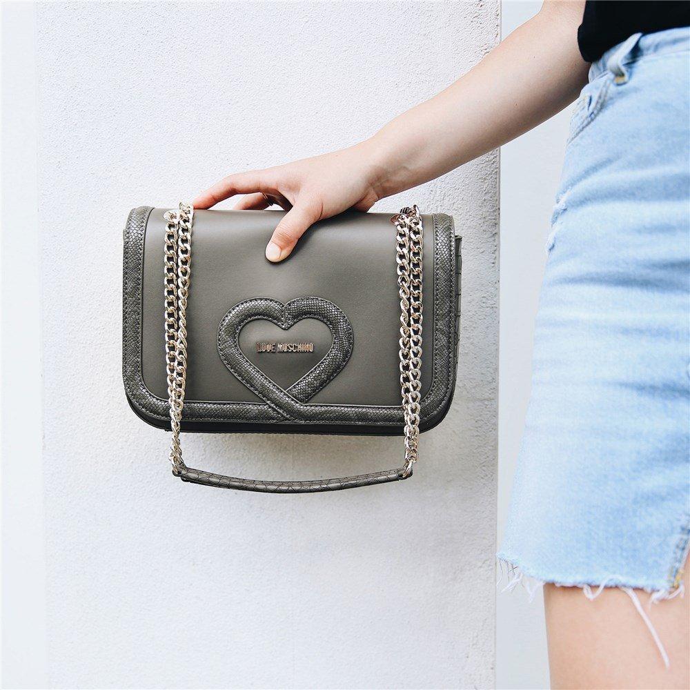 Love Moschino Chain Heart Womens Handbag Grey by Love Moschino (Image #3)