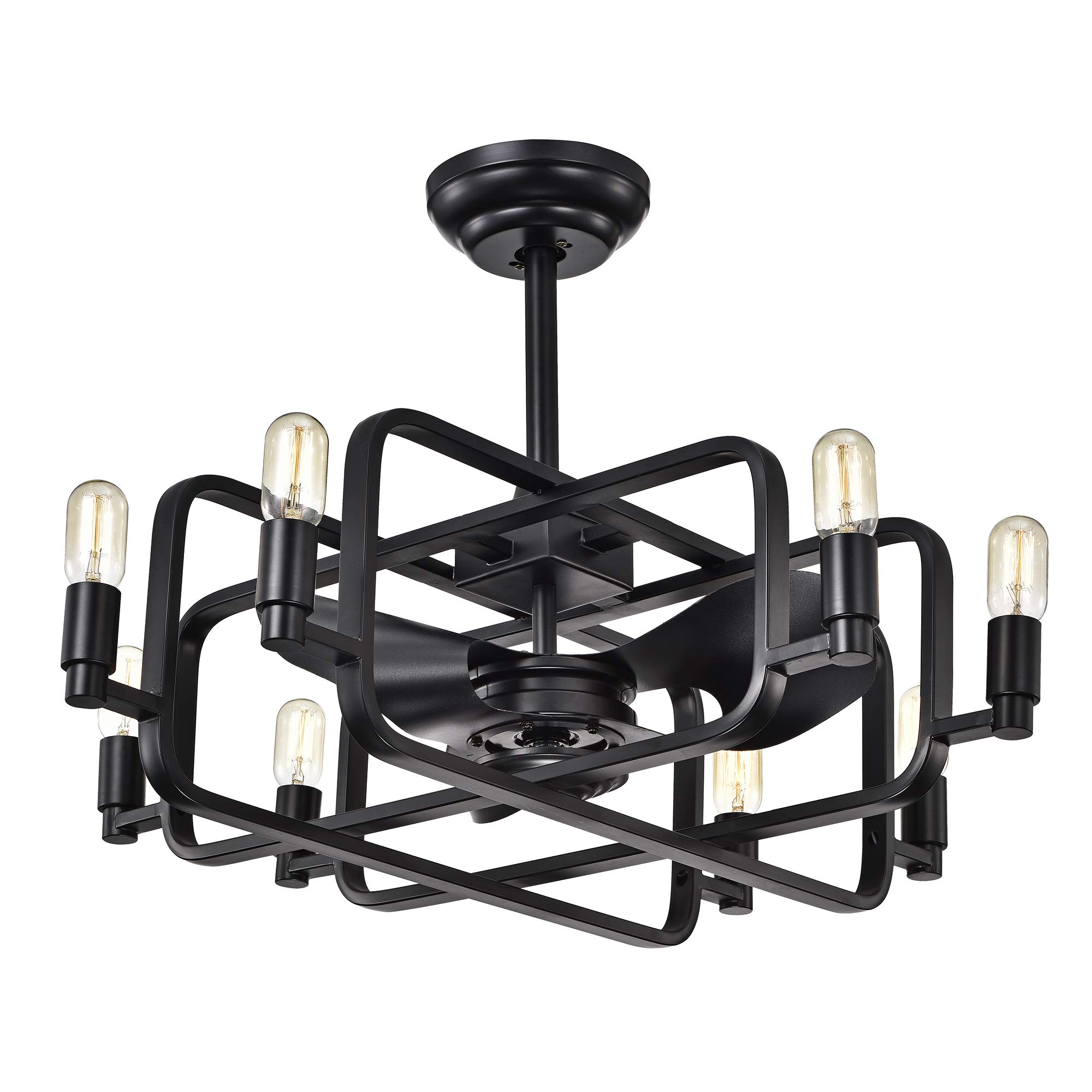Warehouse of Tiffany CFL-8374REMO Usard Black 32-inch 8 Fandelier (Includes Remote and Light Kit) Ceiling Fan