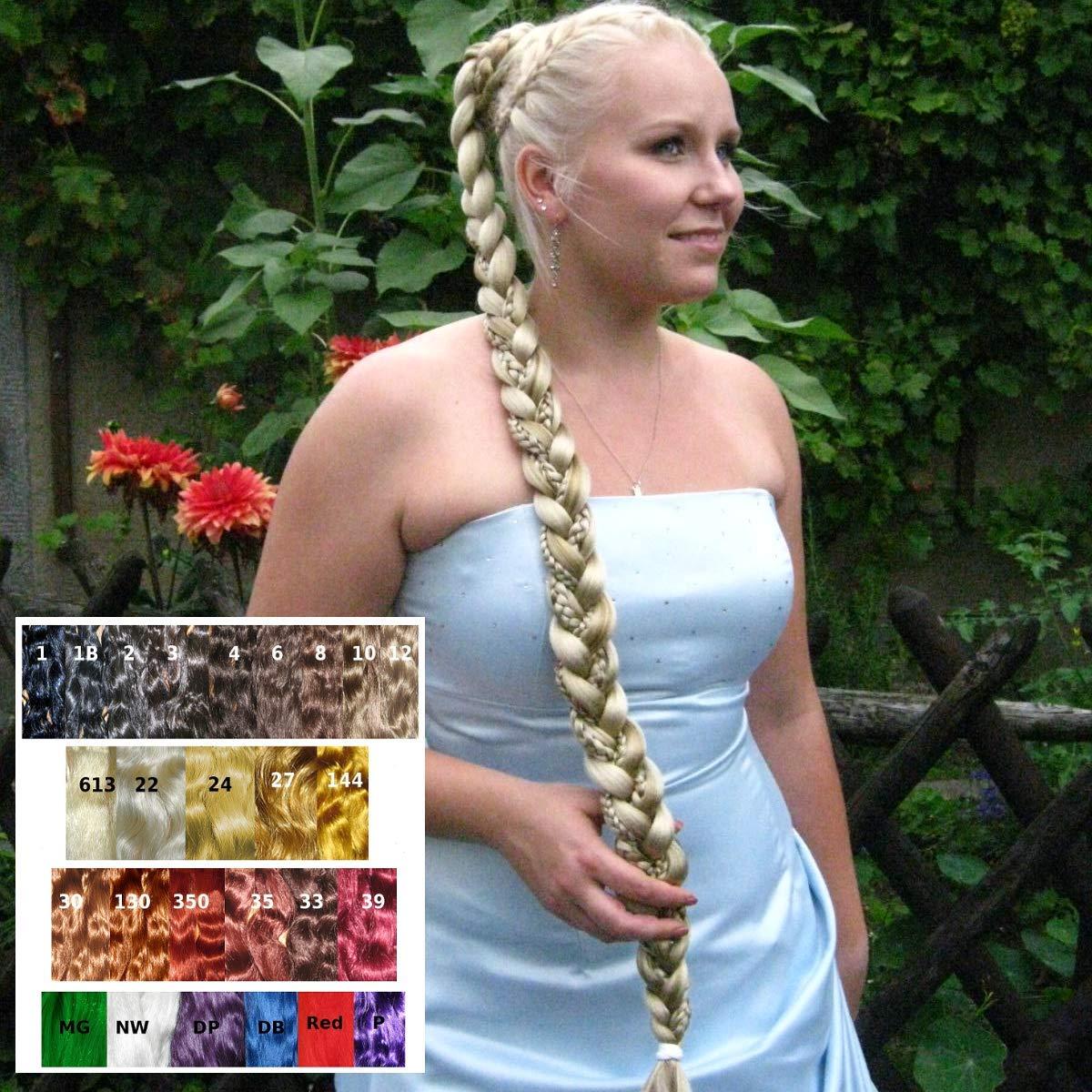 Amazon Com Rapunzel Bride Braid Hair Extension Handmade In Your Hair Color 36 Braided Bridal Prom Hair Piece Renaissance Formal Wedding Ponytail Plait More Styling Options Braided Hair Bun Halo Braid
