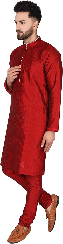 SKAVIJ Mens Art Silk Kurta Pajama Set Indian Party Wear Clothing