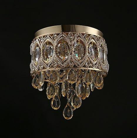 Araña antigua de bronce, lámparas de techo de salón lámpara de araña de cristal,