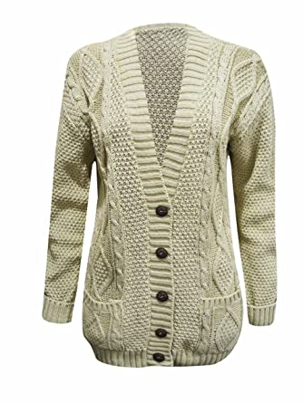 bd1043778f93f3 Womens Long Sleeve Chunky Cable Knitted Button Ladies Grandad Long Cardigan  Size 8-26  Amazon.co.uk  Clothing