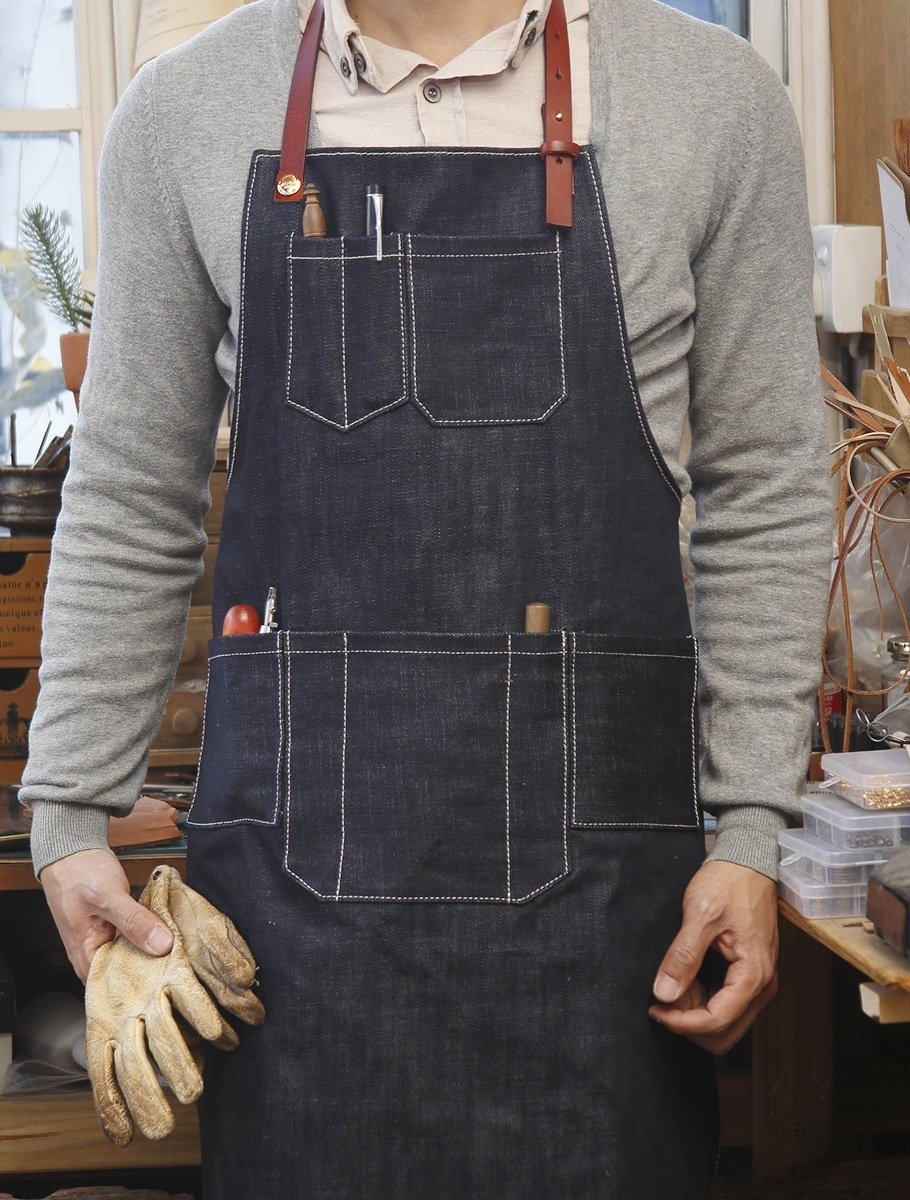 Home-organizer Tech Multi-Use Detachable Tool Apron Heavy Duty Denim Jean Work Apron Salon Barber Hairdressers Apron BBQ Gril Housewife Apron with Pockets, Adjustable for Men & Women