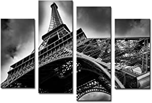 Noah Art-Modern Black and White Canvas Prints, Paris Tour Eiffel Cityscape Artwork Landscape Painting Architecture Poster Art on Canvas, 4 Piece Wall Art Gallery Wrapped Canvas Wall Decor for Bedroom