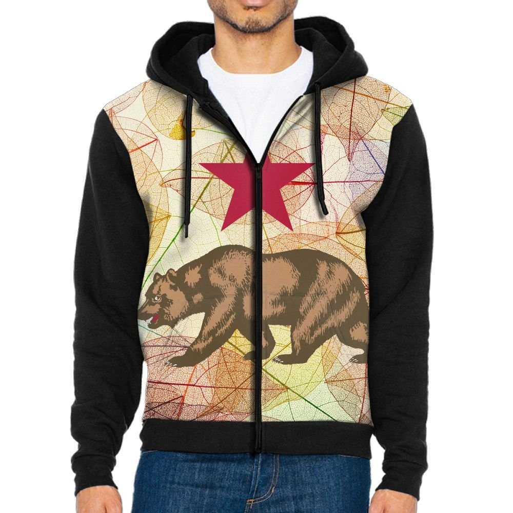 Cali Bear Mens Classic Full Zip Ultimate Pocket Lightweight Hooded Sweatshirts Hoodies