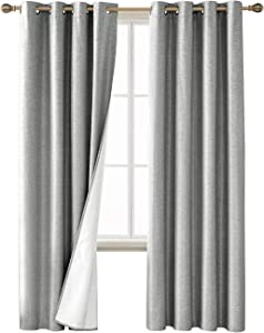 Deconovo Blackout Curtains Textured Room Darkening Light Blocking Black Out Window Draperies with Coated Thermal Insulated Lining for Living Room Light Grey 52W x 84L Inch 2 Panels
