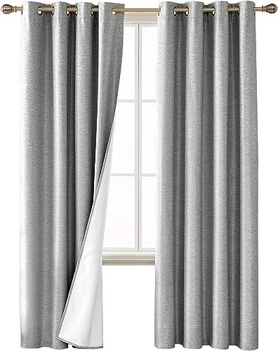 Deconovo Blackout Curtains Textured Room Darkening Light Blocking Black Out Window Draperie
