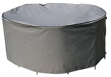 Housse de protection Table Ronde | Ø 178 x 90 cm (L/L x H) | Gris ...