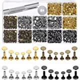 Selizo 480 Sets 4 Colors 3 Sizes Leather Rivets Double Cap Rivet Tubular Metal Studs with 3 Pieces Setting Tool Kit for…